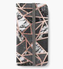 Modernes Rosen-Goldfunkeln-Marmor-geometrisches Dreieck iPhone Flip-Case/Hülle/Skin