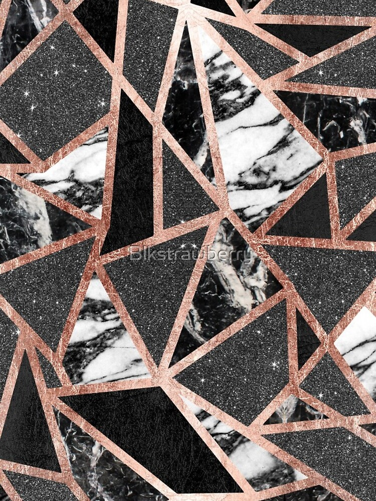 Modern Rose Gold Glitter Marble Geometric Triangle by Blkstrawberry