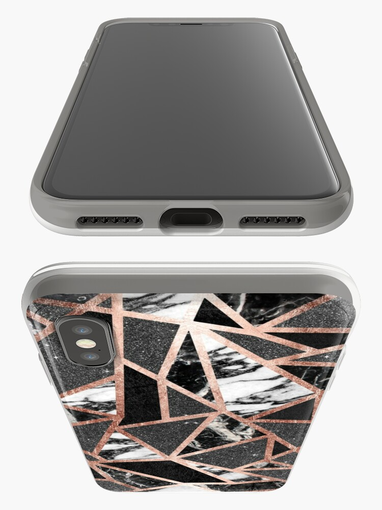 Alternate view of Modern Rose Gold Glitter Marble Geometric Triangle iPhone Case & Cover
