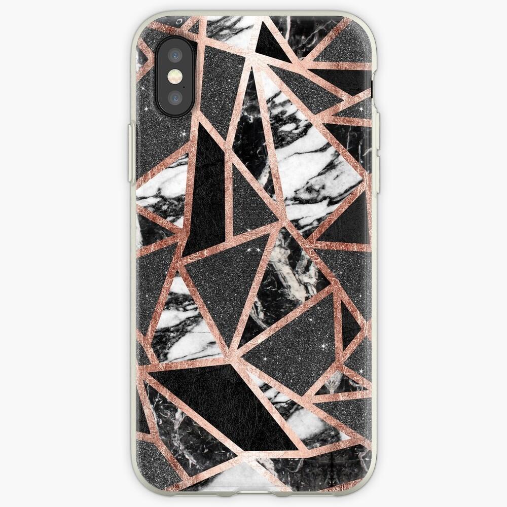 Triángulo geométrico moderno del mármol del brillo de Rose del oro Vinilos y fundas para iPhone
