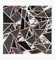 Modernes Rosen-Goldfunkeln-Marmor-geometrisches Dreieck Fotodruck