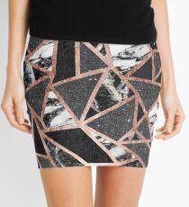 Modernes Rosen-Goldfunkeln-Marmor-geometrisches Dreieck Minirock