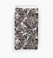 Modernes Rosen-Goldfunkeln-Marmor-geometrisches Dreieck Bettbezug