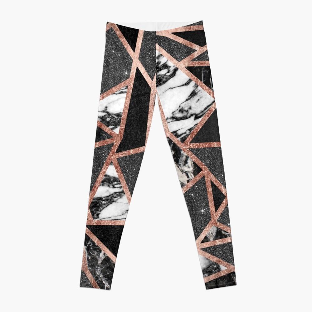 Modernes Rosen-Goldfunkeln-Marmor-geometrisches Dreieck Leggings