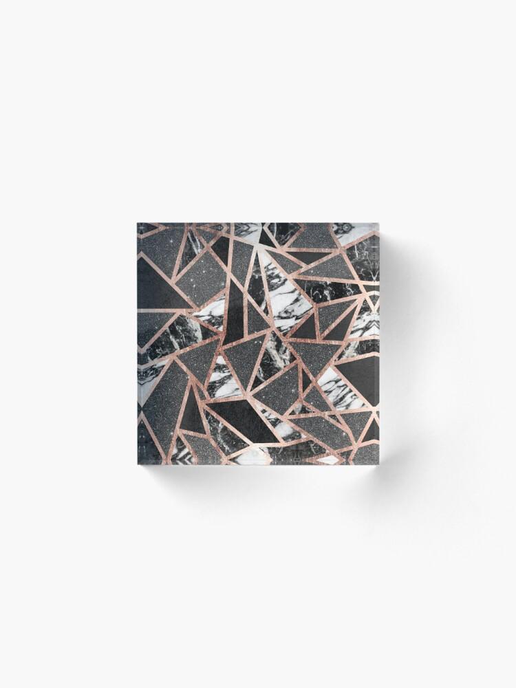 Alternative Ansicht von Modernes Rosen-Goldfunkeln-Marmor-geometrisches Dreieck Acrylblock