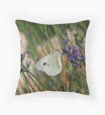 cabbage white Throw Pillow