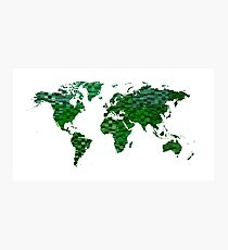 Cool green world map Photographic Print