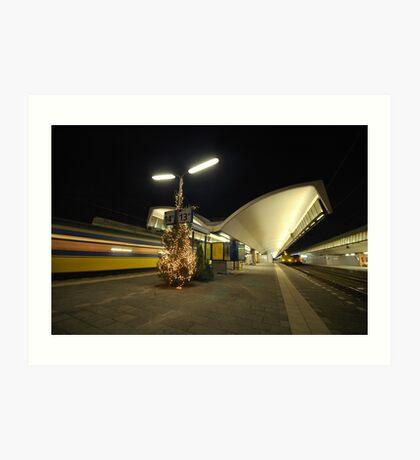 rotterdam central station at night Art Print