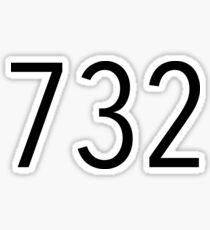 Plain Black 732 Area Code Sticker
