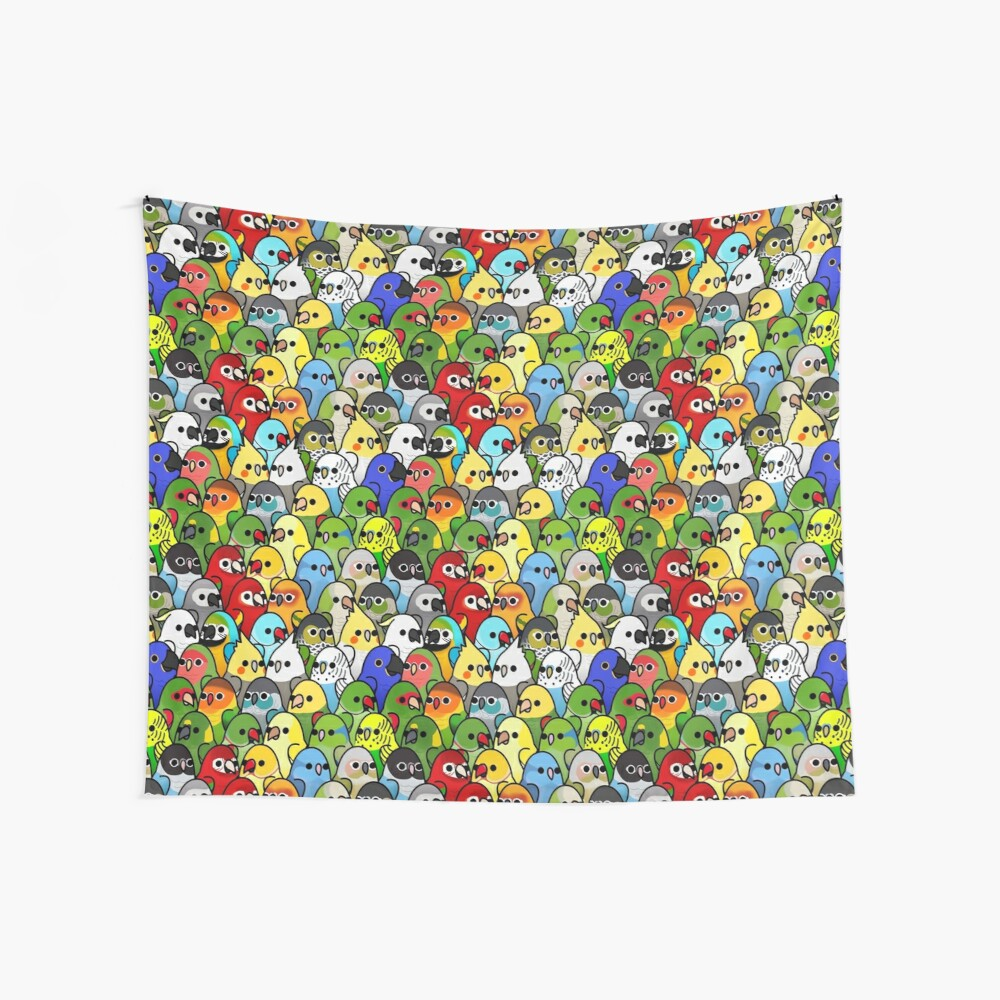 Too Many Birds! Bird Squad Classic Wall Tapestry