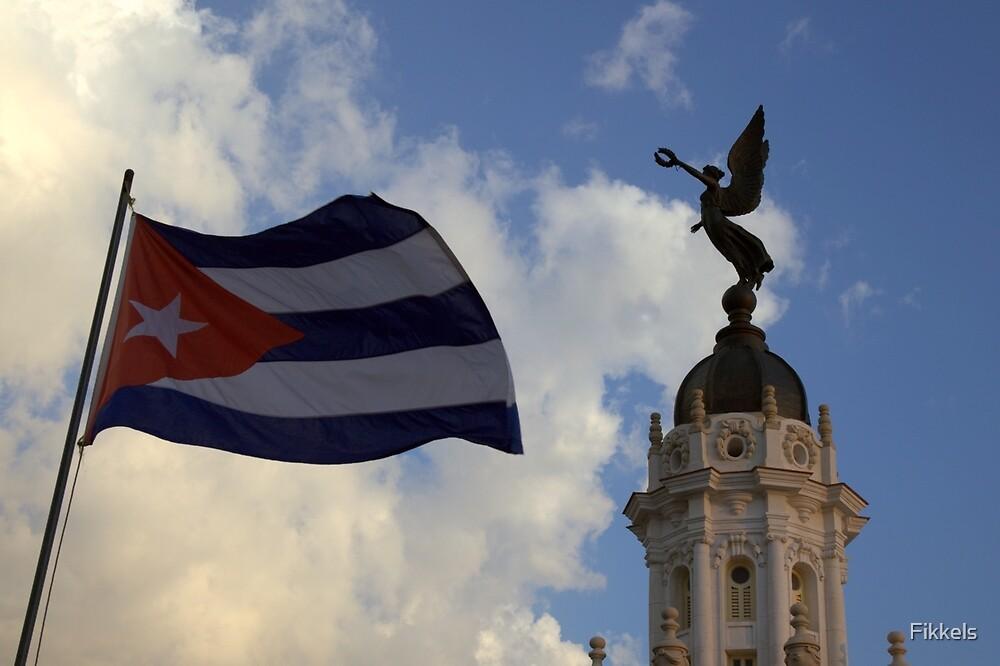 Cuban flag in Central Havana by Fikkels