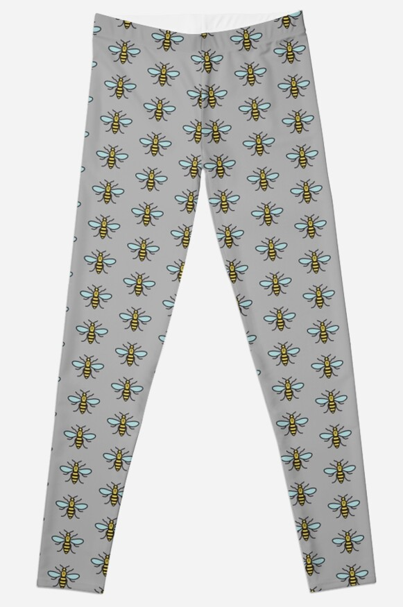 Manchester Bee Leggings By Jamie Evans Redbubble