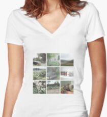 minimalist aesthetic grid Women's Fitted V-Neck T-Shirt