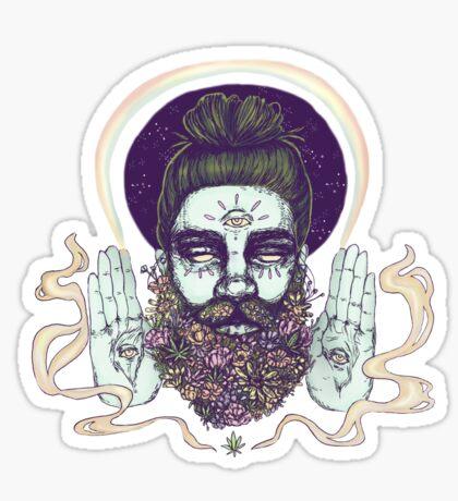Flower Beard || Psychedelic Illustration by Chrysta Kay Sticker