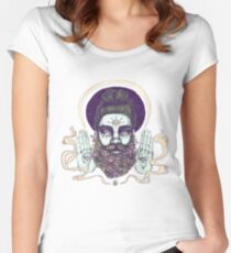 Flower Beard || Psychedelic Illustration by Chrysta Kay Women's Fitted Scoop T-Shirt