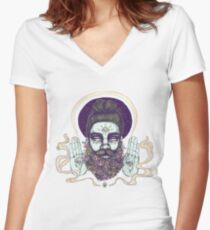 Flower Beard || Psychedelic Illustration by Chrysta Kay Women's Fitted V-Neck T-Shirt