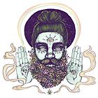 Flower Beard || Psychedelic Illustration by Chrysta Kay by chrystakay