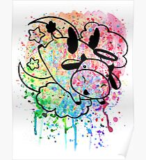 Rainbow Paint Splatter - Cow Angel Poster