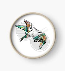 Rainbow Bee Eater Birds with Striped Graphic Clock
