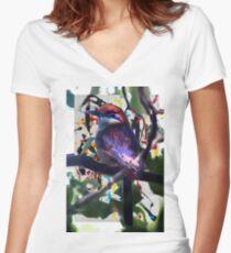 Birgundy Women's Fitted V-Neck T-Shirt