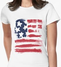 Abstract Stars Stripes Patriotic American Flag Womens Fitted T-Shirt