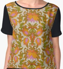 Orange, Pink Flowers and Green Leaves 1960s Retro Vintage Pattern Chiffon Top