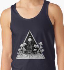 Camiseta de tirantes Estar aquí ahora || Ilustración de seta de tipografía Zen