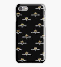 Lebron James Pattern - White Text Black Background iPhone Case/Skin