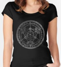 Human Transmutation Circle - silver grunge Women's Fitted Scoop T-Shirt