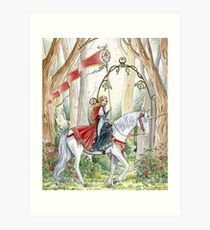 Rose Unicorn Maiden Art Print