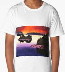 Purple Sunset Landscape Painting Long T-Shirt