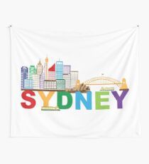 Sydney Australia Skyline Text Colorful Abstract Illustration Wall Tapestry