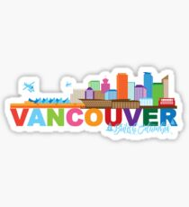 Vancouver BC Canada Skyline Text Color Illustration Sticker