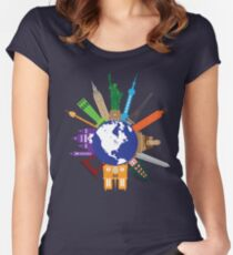 Tourist Attractions Around The World Globe Illustration Women's Fitted Scoop T-Shirt