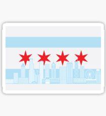 Chicago City Skyline Flag Color Illustration Sticker