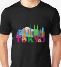 Tokyo City Skyline Text Color Illustration Unisex T-Shirt