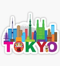 Tokyo City Skyline Text Color Illustration Sticker