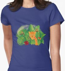 Tropical Rainforest  Jungle Tiger Cub Illustration Womens Fitted T-Shirt