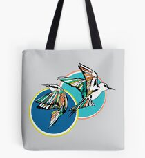 Rainbow Bee Eater Birds with Blue Graphics Tote Bag