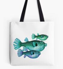 Trio of Blue Green Puffer Fish Tote Bag