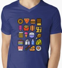 8 bit Foodie v2 Men's V-Neck T-Shirt