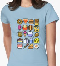 8 bit Foodie v2 Distressed Women's Fitted T-Shirt