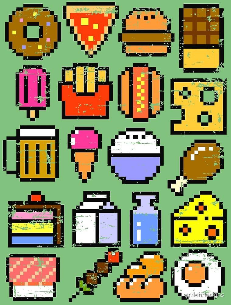8 bit Foodie v2 Distressed by artlahdesigns