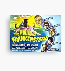 The House of Frankenstein, vintage horror movie poster Canvas Print