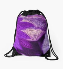 Purple Floral Dark Drawstring Bag