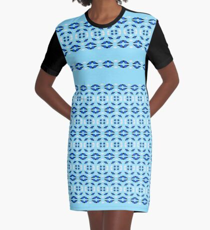 Beautiful Blues Circle Modern Design Graphic T-Shirt Dress