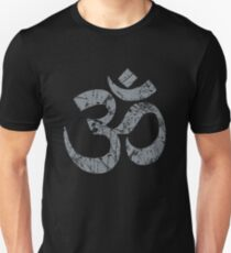 OM Yoga Spiritual Symbol in Distressed Style Slim Fit T-Shirt