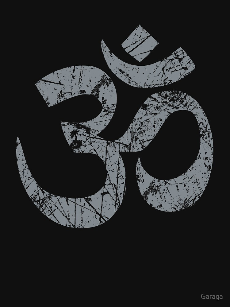 OM Yoga Spiritual Symbol in Distressed Style by Garaga
