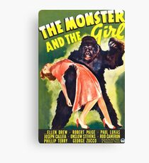 The Monster and the Girl, vintage horror movie poster Canvas Print