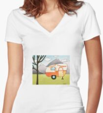 Whimsical Art RV Camper Outdoor Adventure Women's Fitted V-Neck T-Shirt